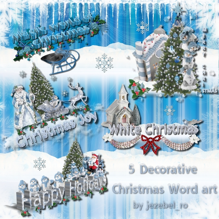 Decorative Christmas word art